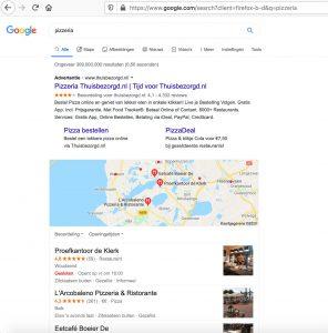 Lokale zoekopdracht naar een pizzeria in Google